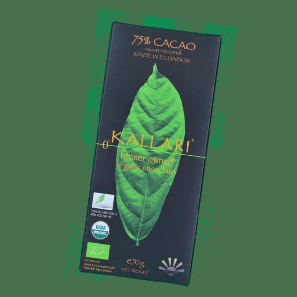 Tablette bio 75% cacao Kallari
